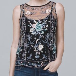 Edgy Floral Embroidered Sheer Top with Camisole
